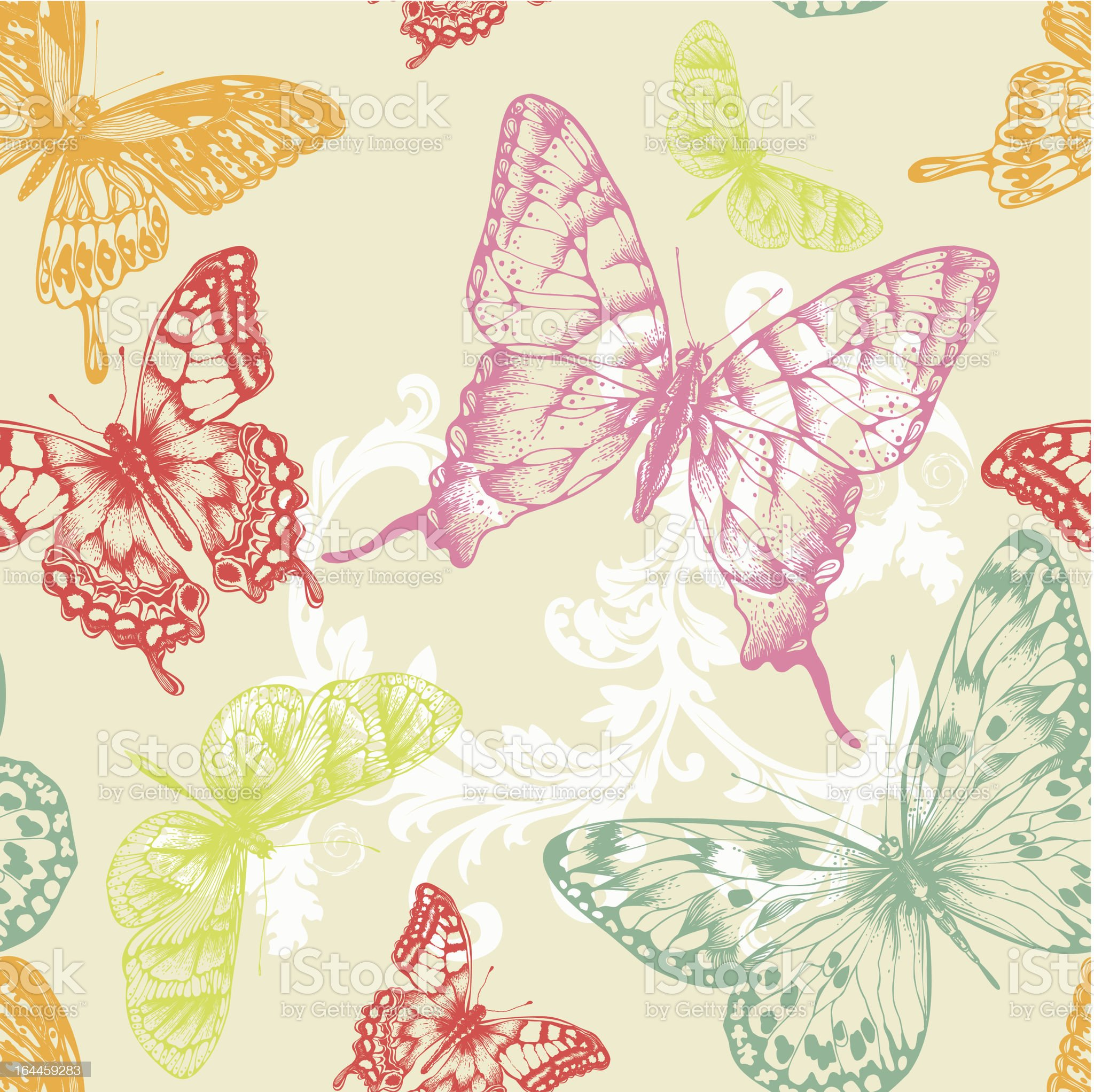 Seamless pattern with flying butterflies, hand-drawing. Vector illustration. royalty-free stock vector art