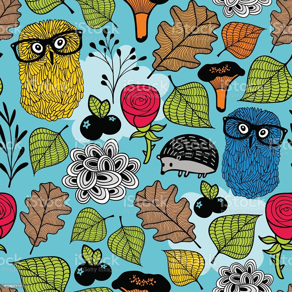 Seamless pattern with forest plants and animals. vector art illustration