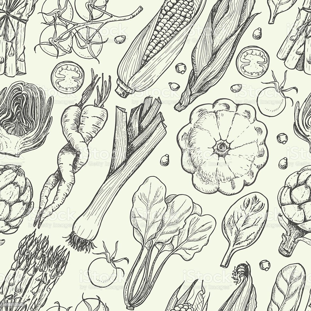 Seamless pattern with fresh vegetables vector art illustration