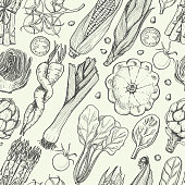 Seamless pattern with fresh vegetables
