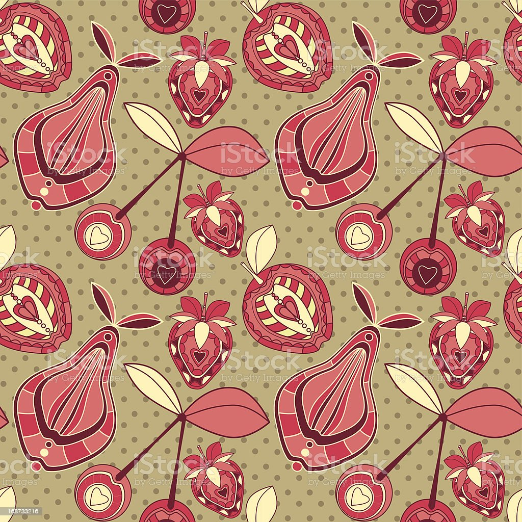 Seamless pattern with  fruits and berries on spotted background. royalty-free stock vector art