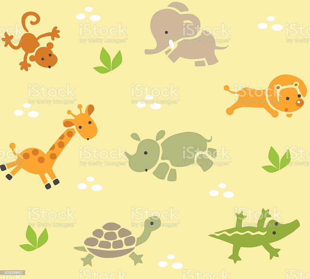 Seamless pattern with funny african animals vector art illustration
