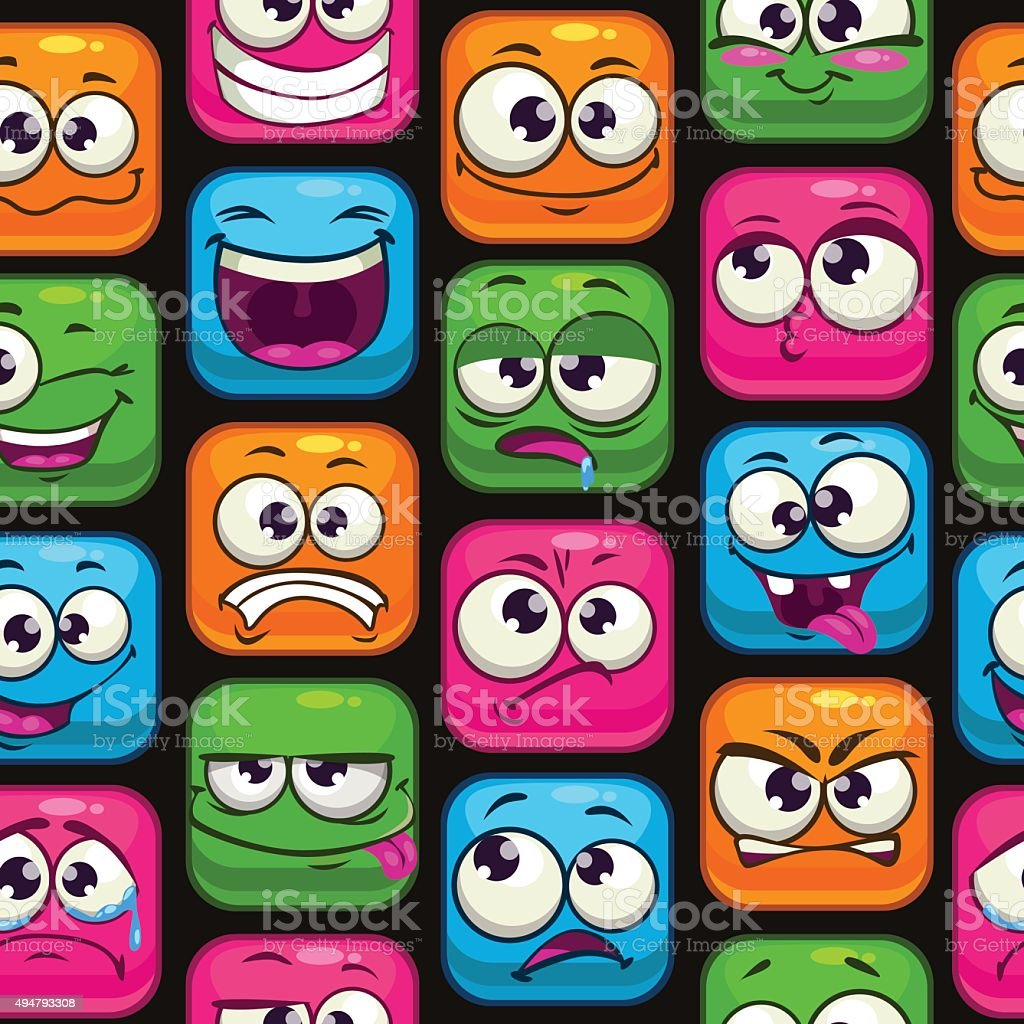 Seamless pattern with funny cartoon colorful faces vector art illustration