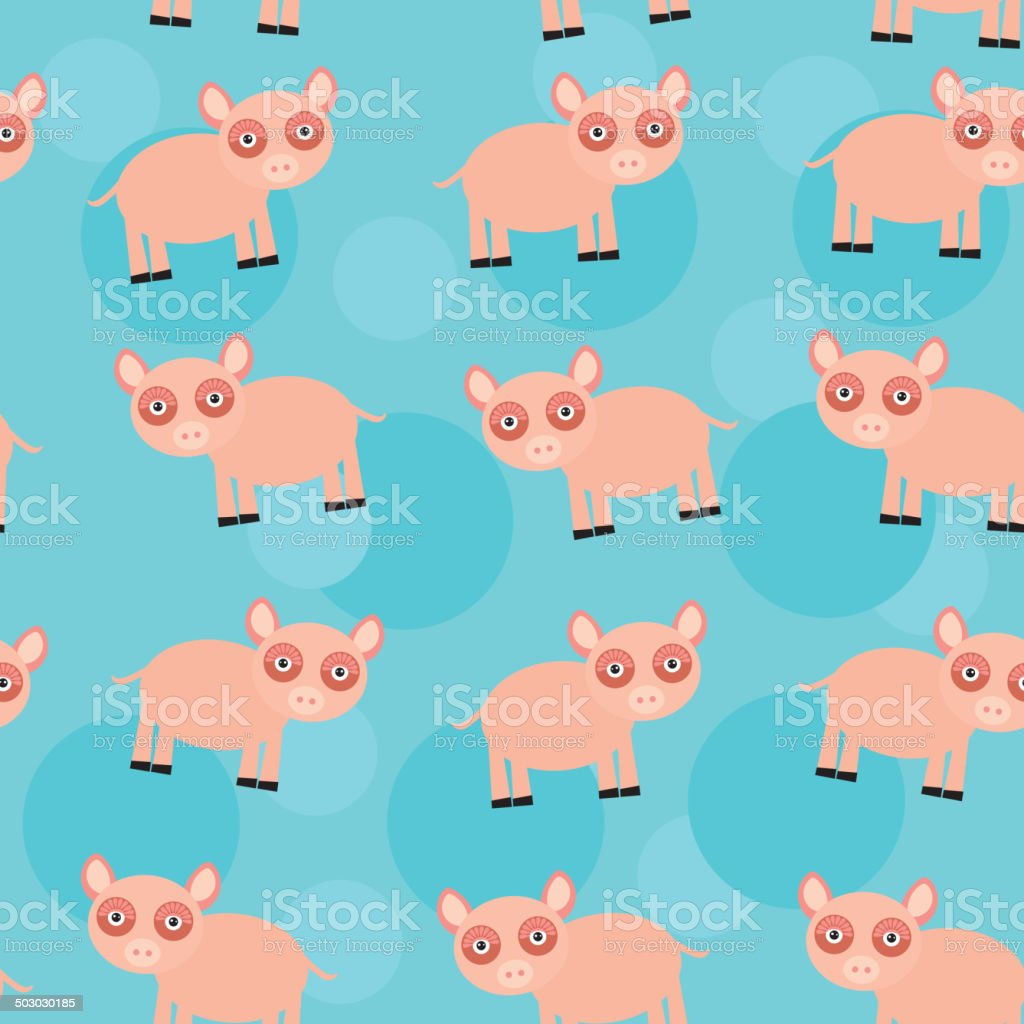 Seamless pattern with funny cute animal pig on blue background royalty-free stock vector art