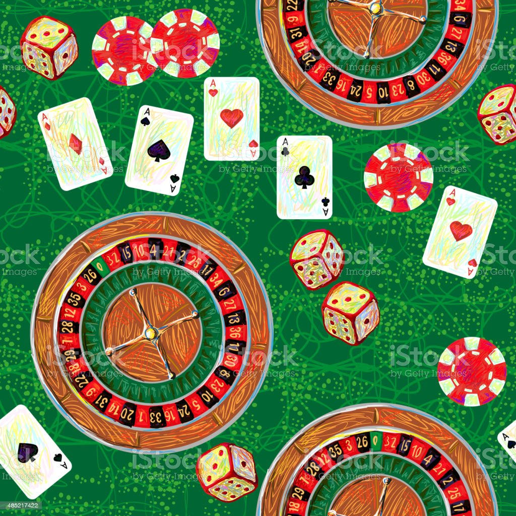 Seamless pattern with game casino dice and roulette, poker vector art illustration