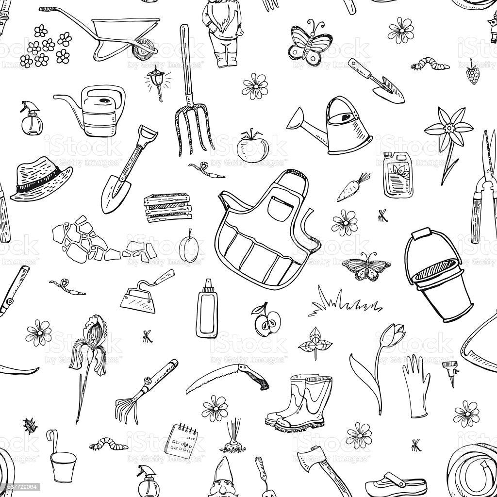 seamless pattern with gardening tools vector art illustration