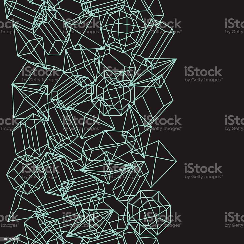 Seamless pattern with geometric crystals and minerals vector art illustration