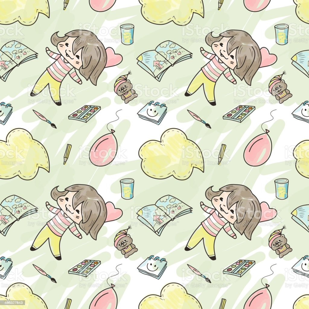 Seamless pattern with girl vector art illustration