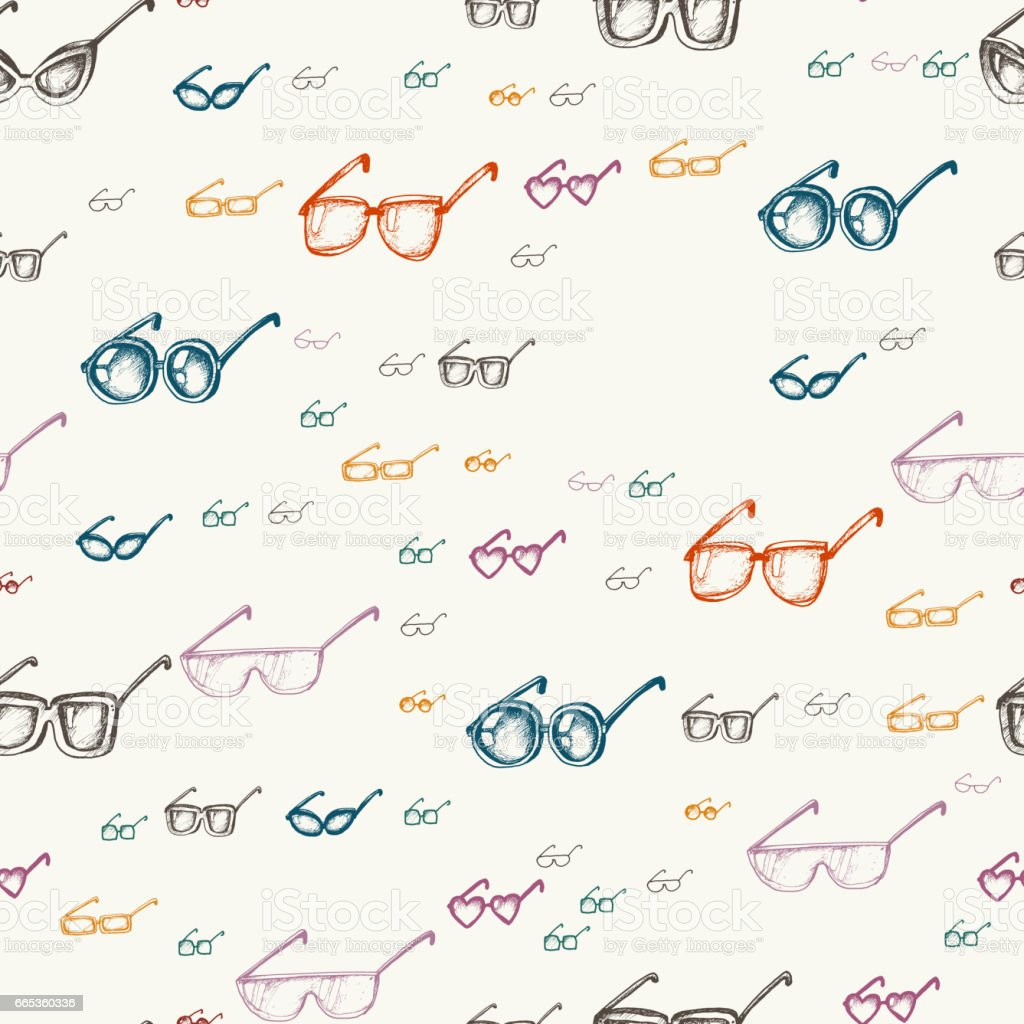 Seamless pattern with glasses vector art illustration