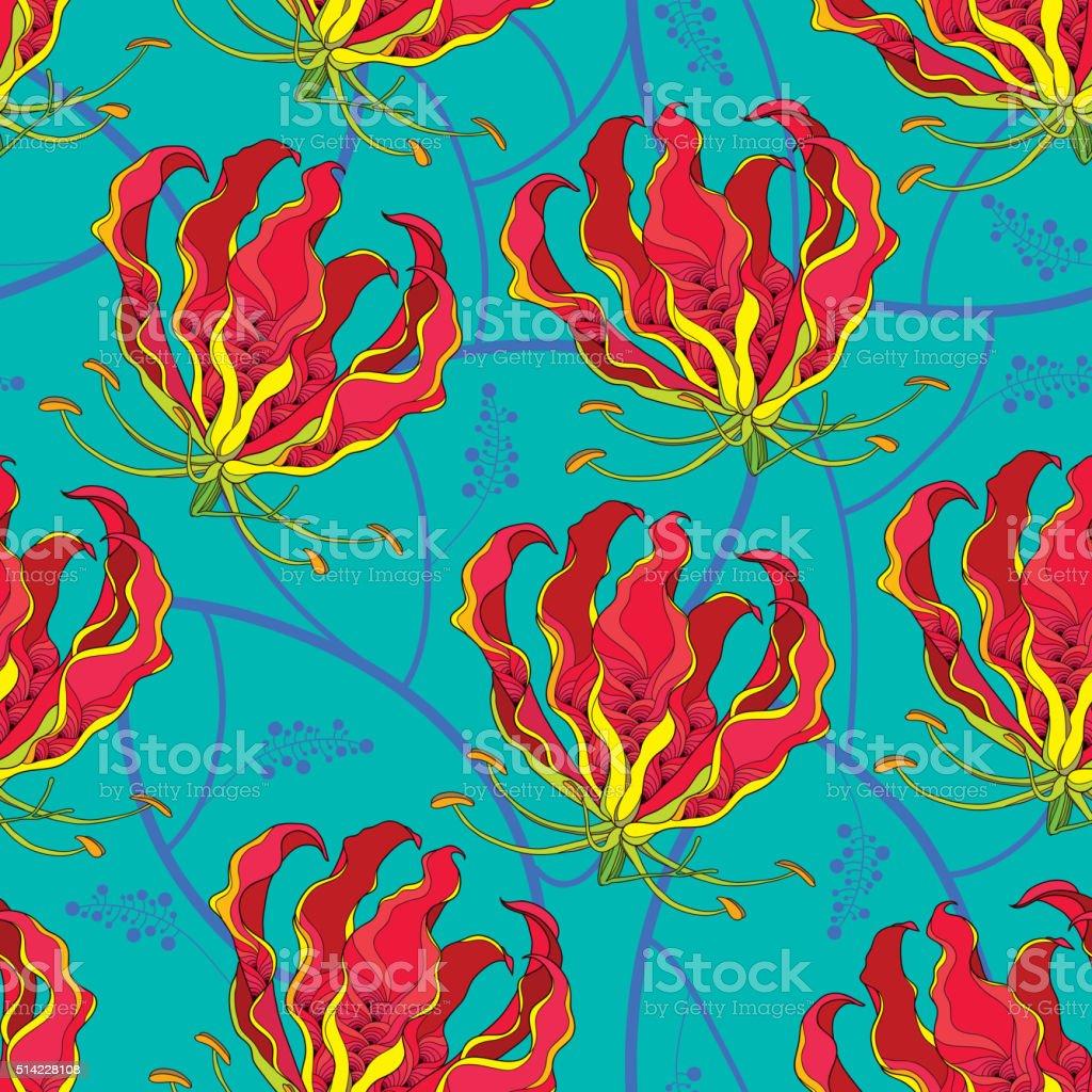 Seamless pattern with Gloriosa superba flower on the turquoise background. vector art illustration