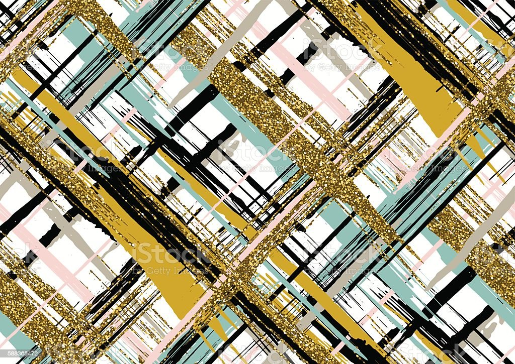Seamless pattern with gold glitter textured brush strokes and stripes vector art illustration