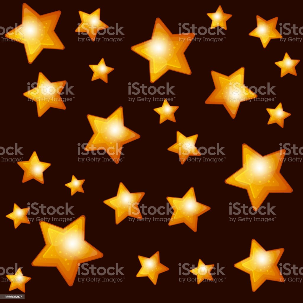 Seamless Pattern with Gold Stars on Dark Background. royalty-free stock vector art