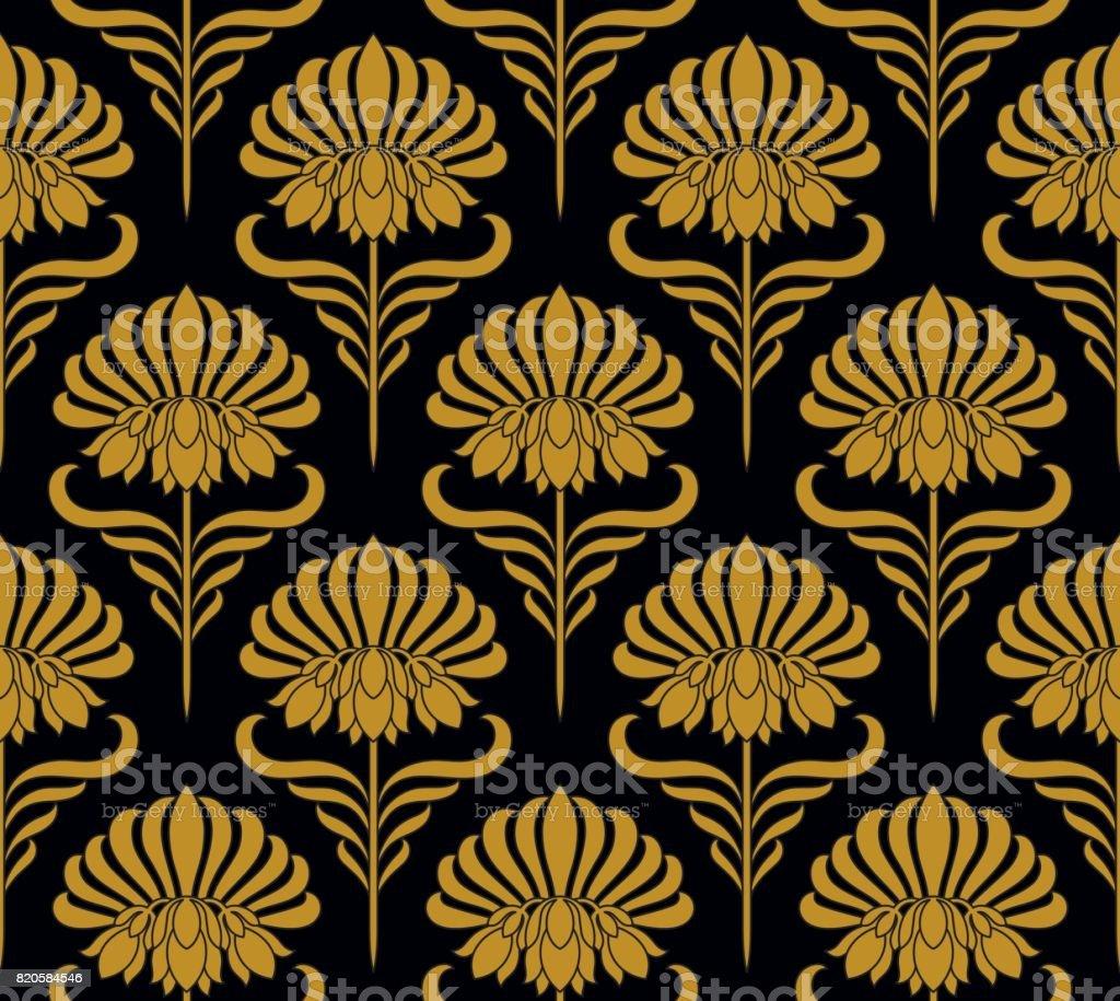 Seamless pattern with golden flowers vector art illustration
