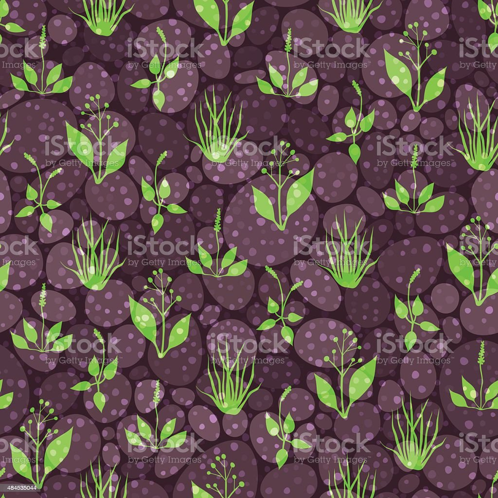 Seamless pattern with grass and stones vector art illustration