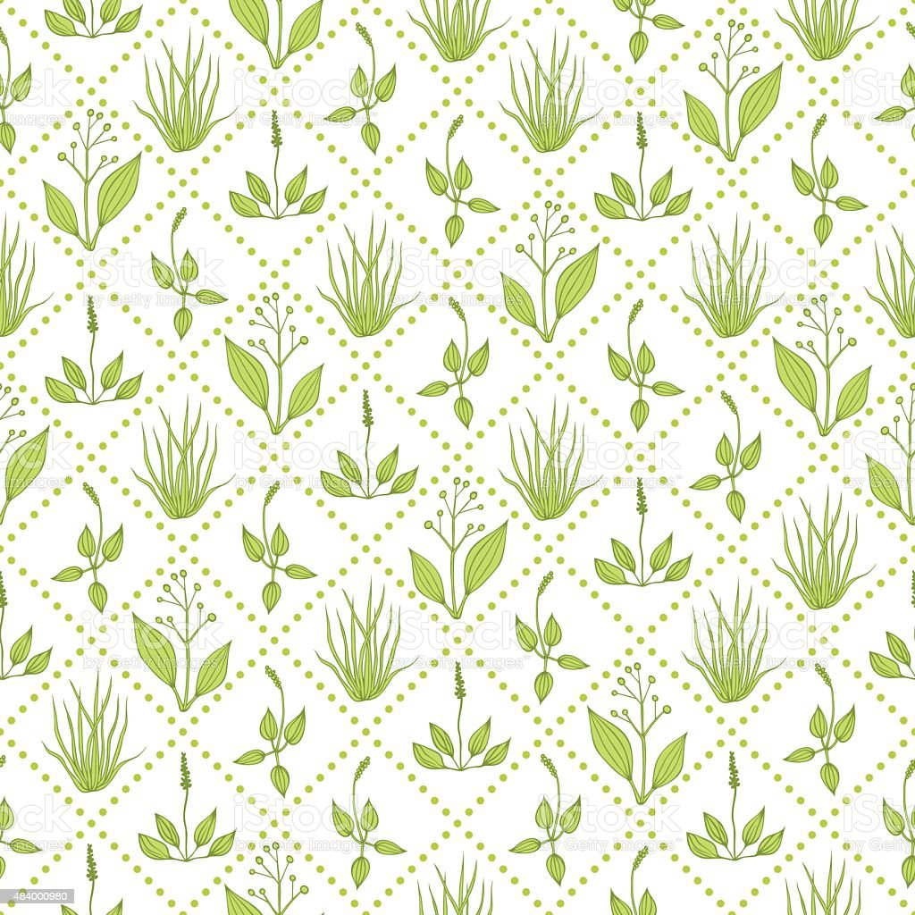 Seamless pattern with grass vector art illustration