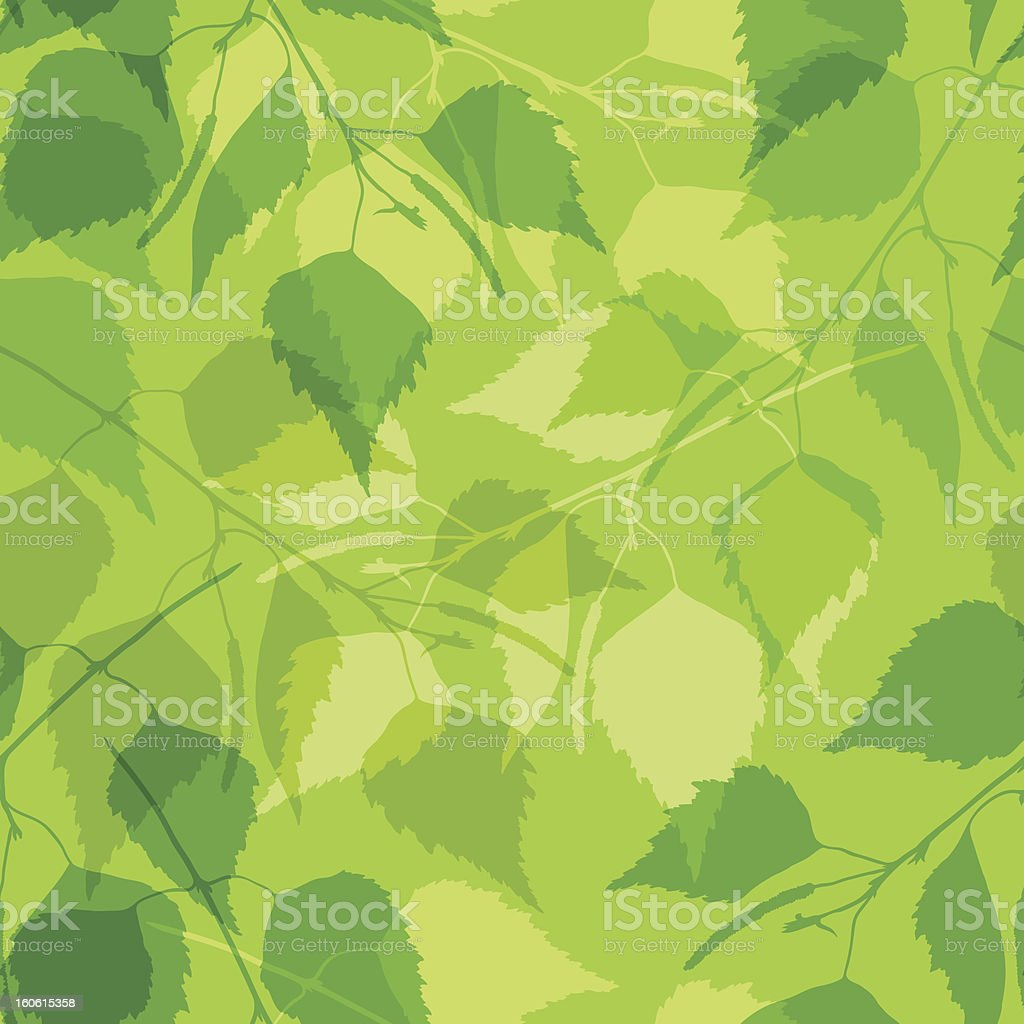 Seamless pattern with green birch leaves. royalty-free stock vector art