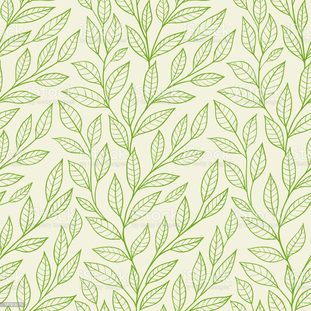 seamless pattern with green leaves vector art illustration