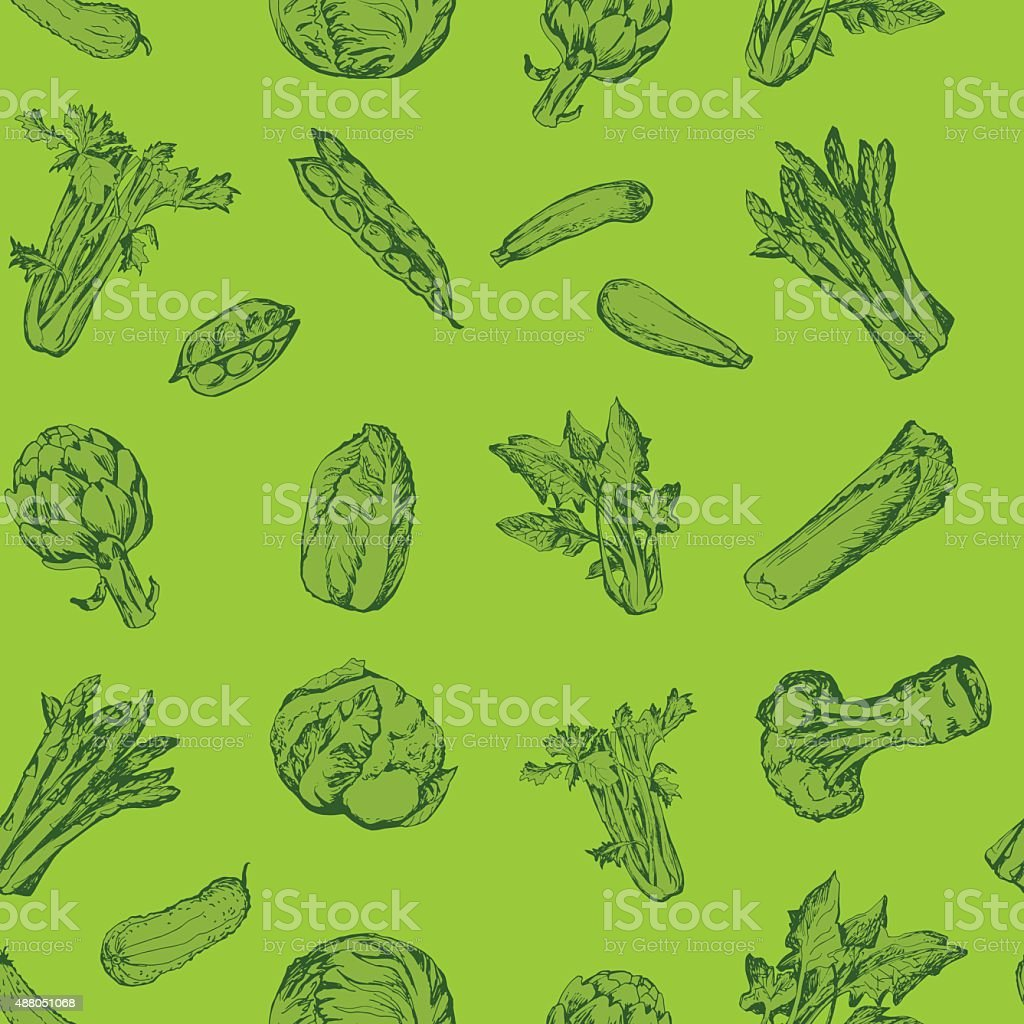 Seamless pattern with green vegetables vector art illustration