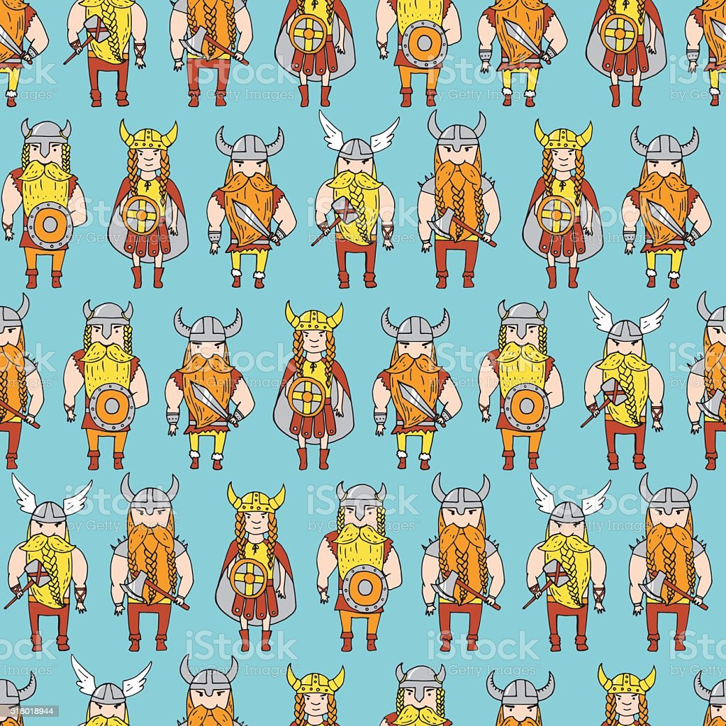 Seamless pattern with grumpy dangerous vikings vector art illustration