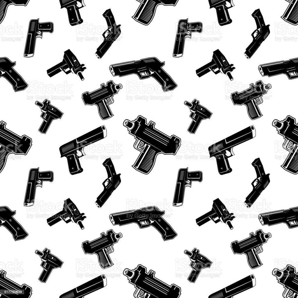 Seamless pattern with guns. vector art illustration