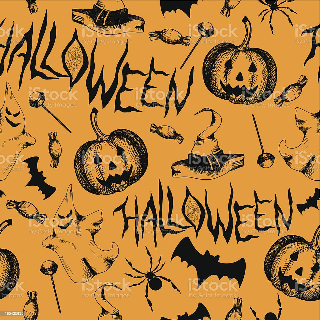 Seamless pattern with halloween decoration elements. royalty-free stock vector art