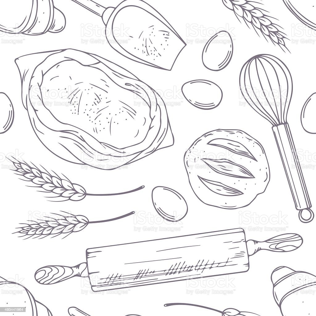 Seamless pattern with hand drawn bakery oblects. Sketched food vector art illustration