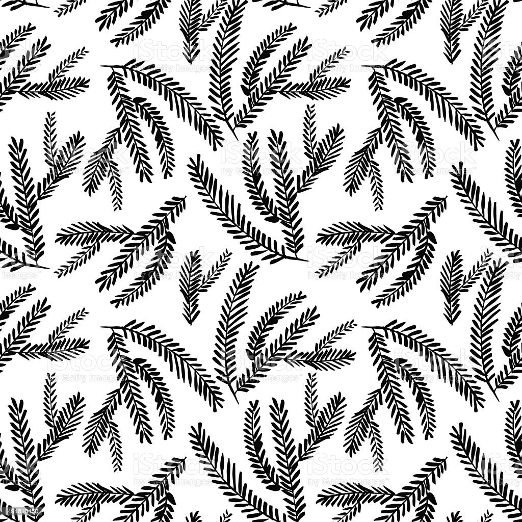 Seamless pattern with hand drawn branches. vector art illustration
