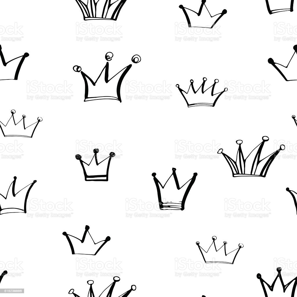 Seamless pattern with hand drawn crowns. vector art illustration