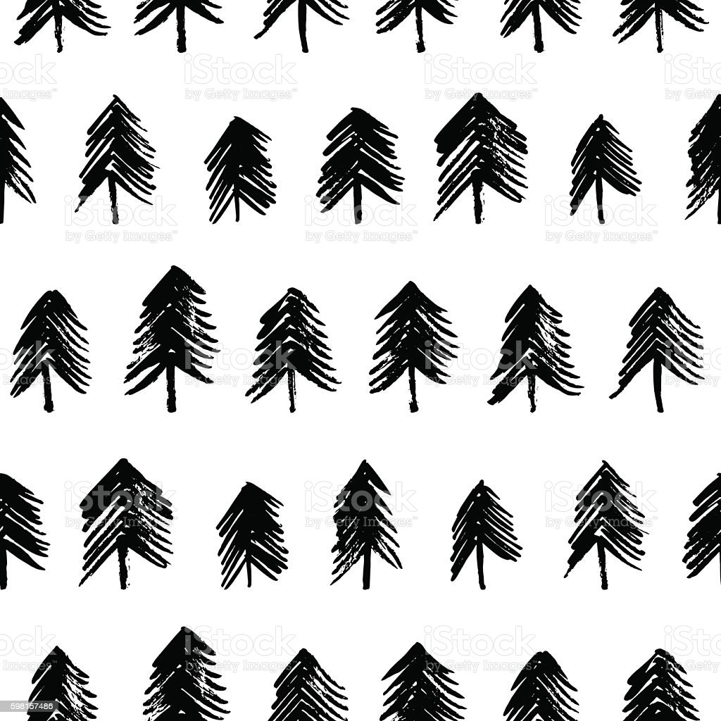 Seamless pattern with hand drawn fir-trees. vector art illustration