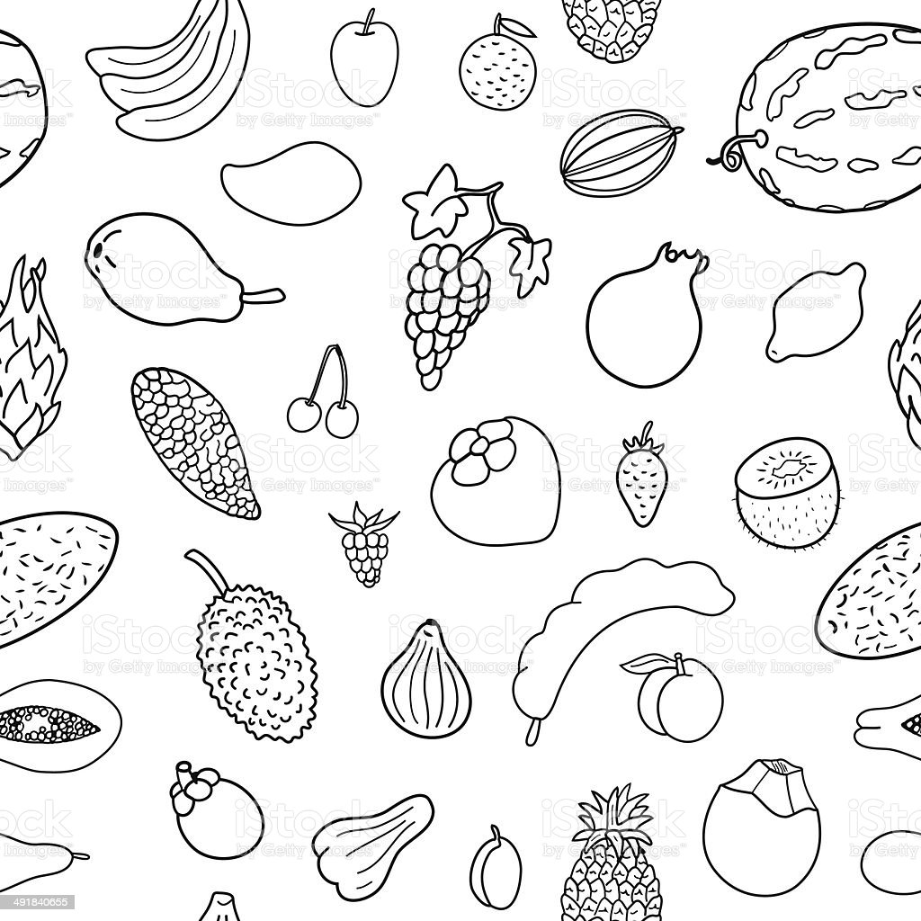Seamless pattern with hand drawn  fruits. vector art illustration