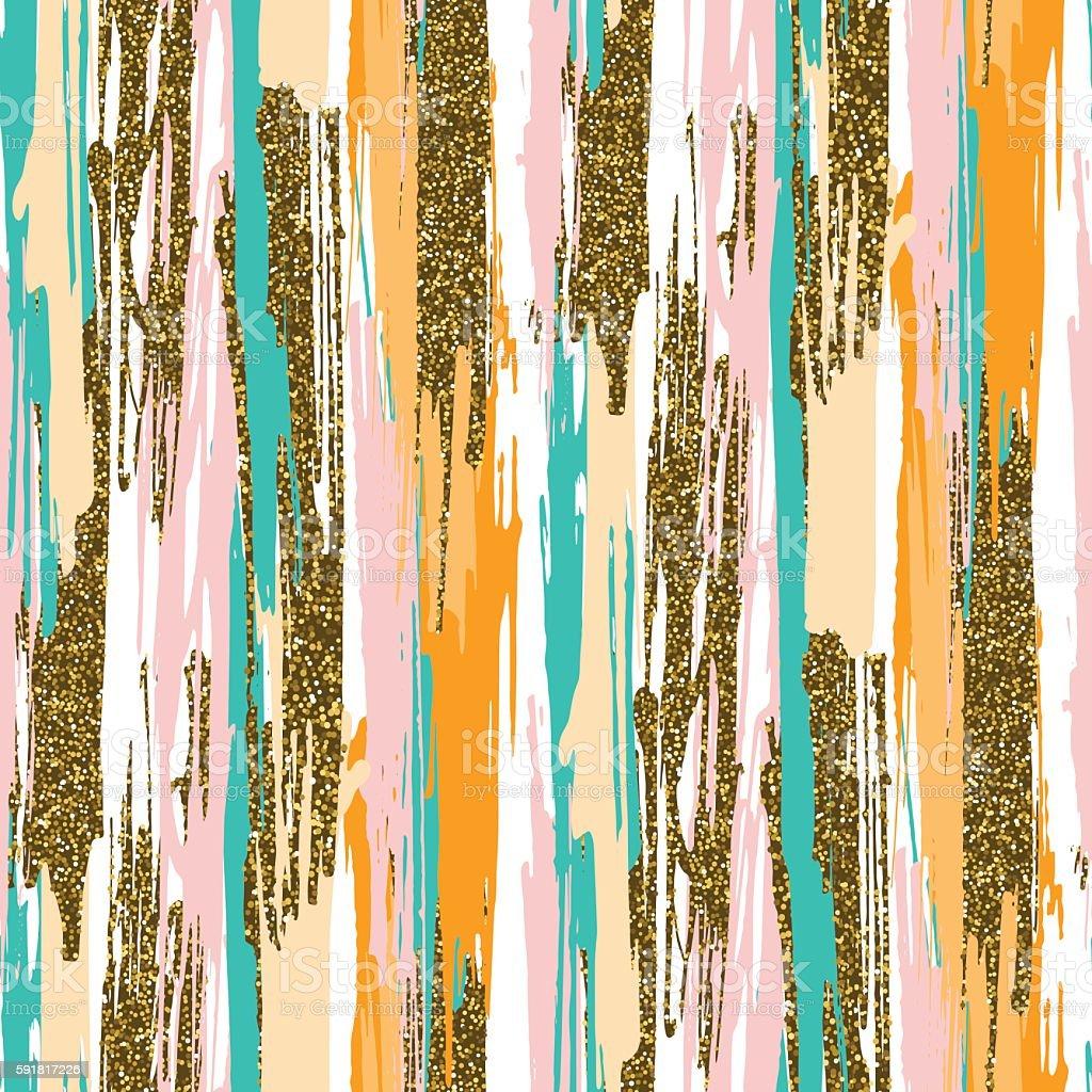 seamless pattern with hand drawn gold glitter textured brush strokes vector art illustration