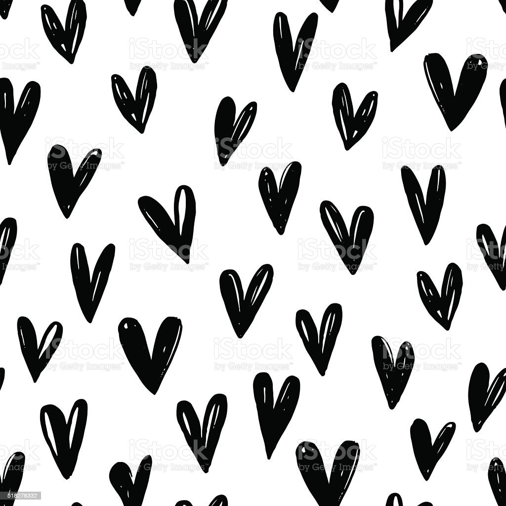 Seamless pattern with hand drawn graphic hearts. vector art illustration