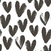 Seamless pattern with hand drawn heart.