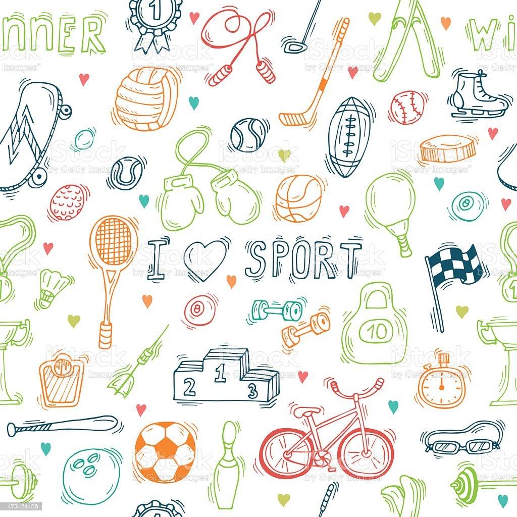 Seamless pattern with hand drawn sport equipment. I love sport vector art illustration