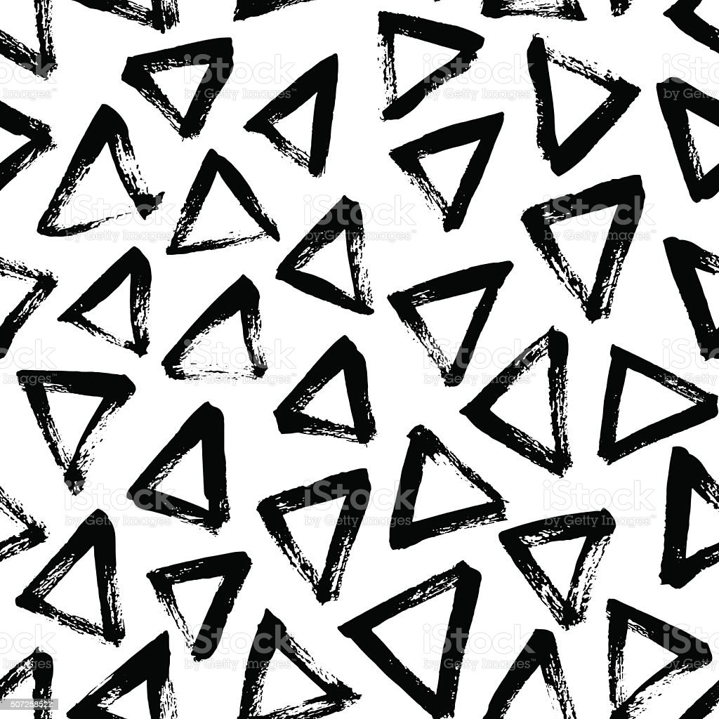 Seamless pattern with hand drawn triangles. vector art illustration