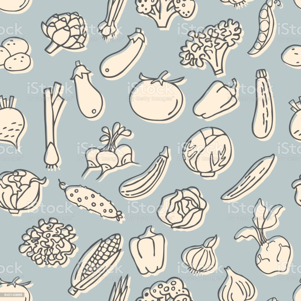 Seamless pattern with hand drawn vegetables. vector art illustration