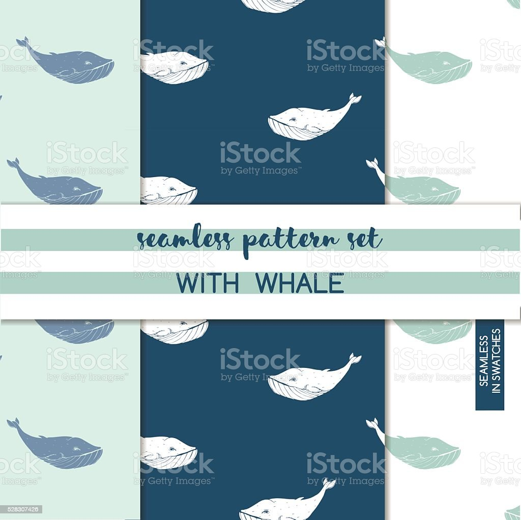 Seamless pattern with hand drawn whale. Vector set. vector art illustration