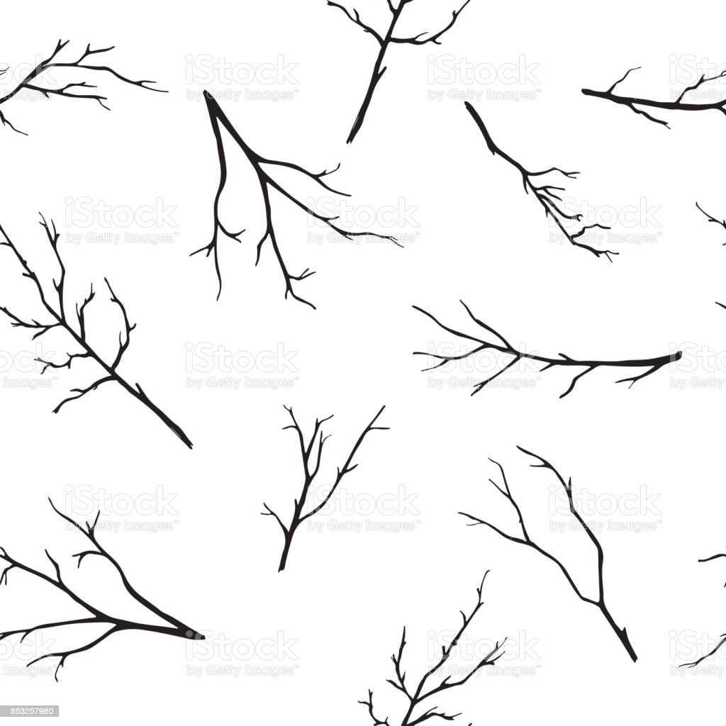 seamless pattern with hand-drawn branches vector art illustration