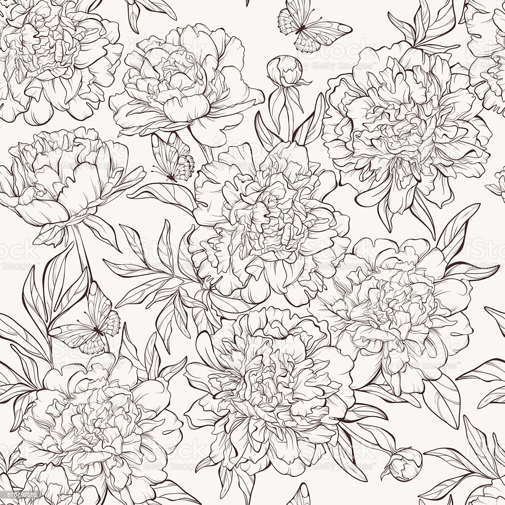 seamless pattern with hand-drawn peony flowers vector art illustration