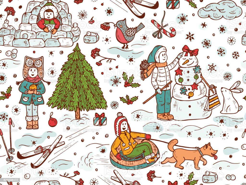 Seamless pattern with Happy children playing outdoors in winter time vector art illustration