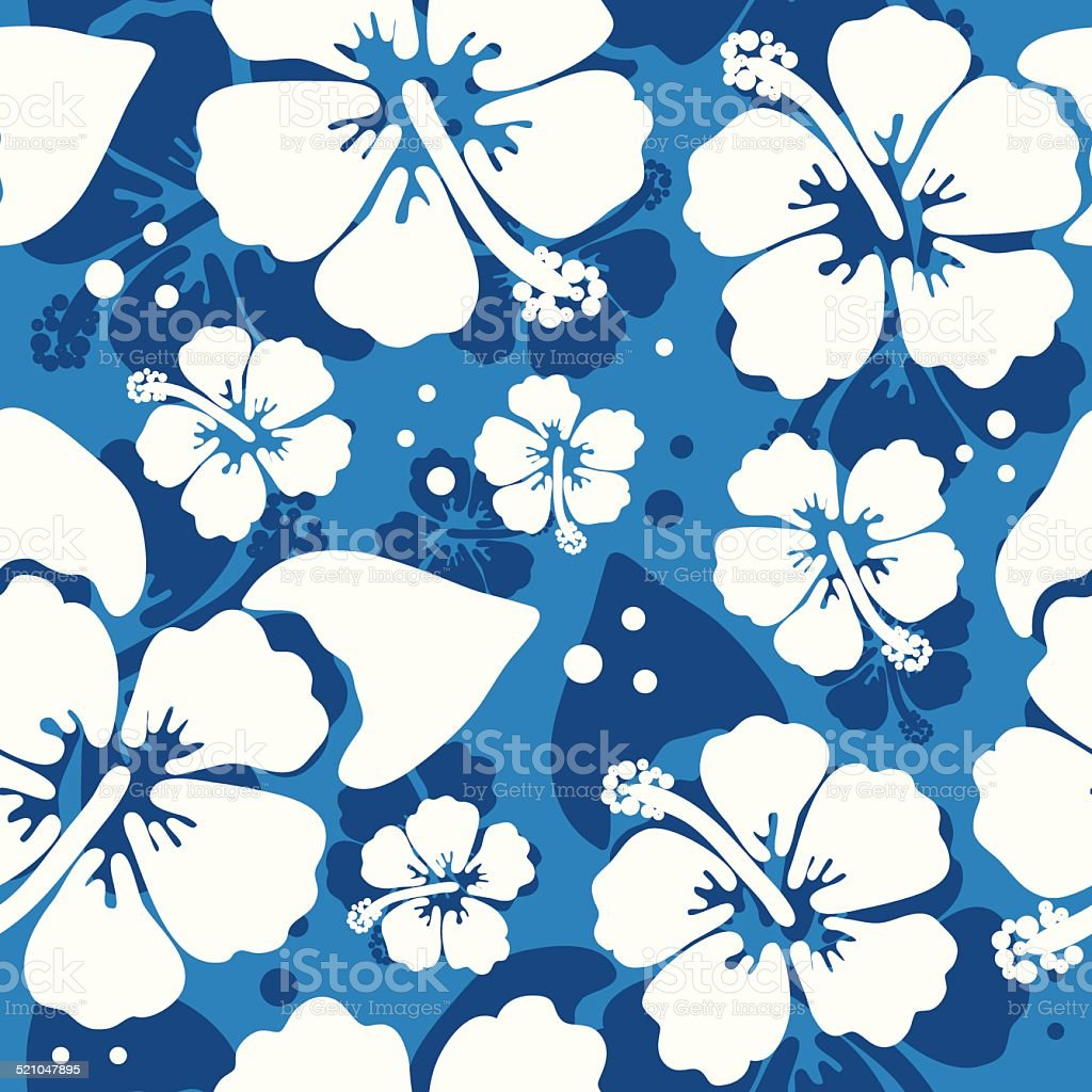 Seamless pattern with hawaiian hibiscus flower vector art illustration