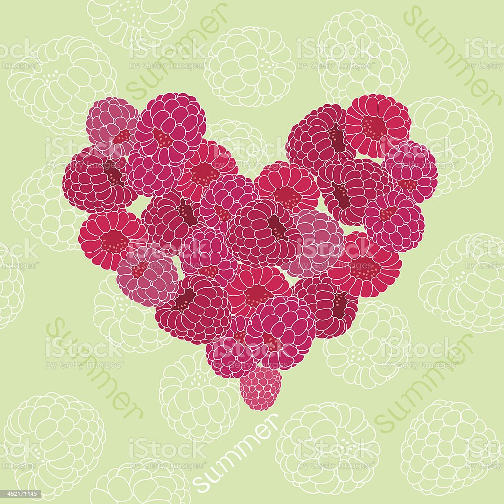 Seamless pattern with heart of raspberries royalty-free stock vector art