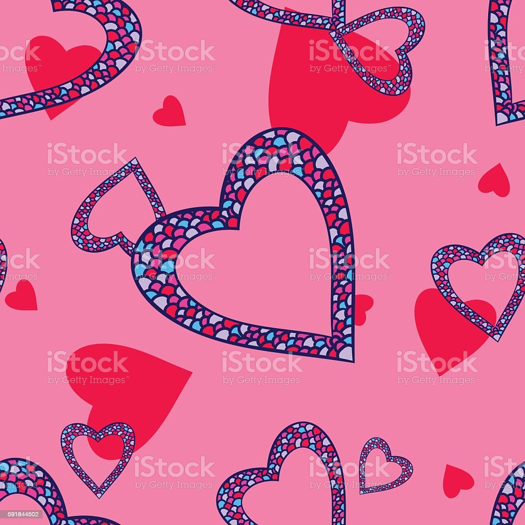 Seamless pattern with heart vector art illustration