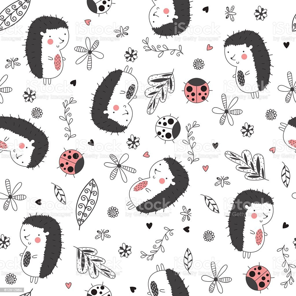 Seamless pattern with hedgehogs and ladybirds vector art illustration