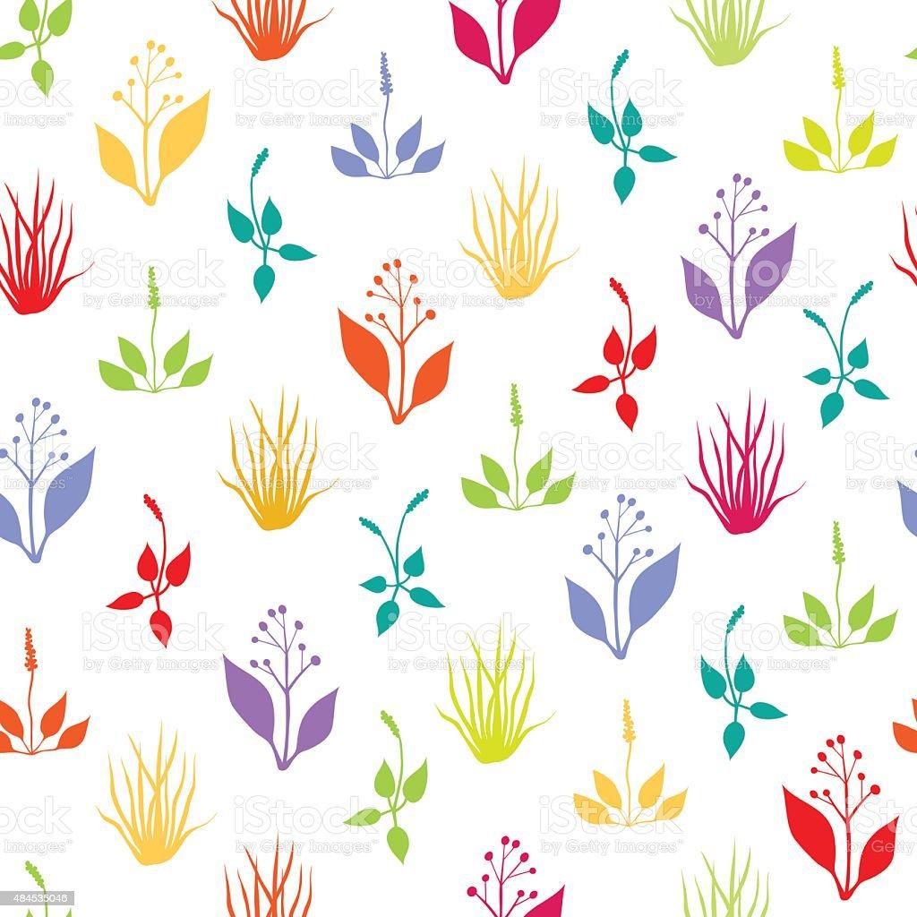 Seamless pattern with herbs vector art illustration