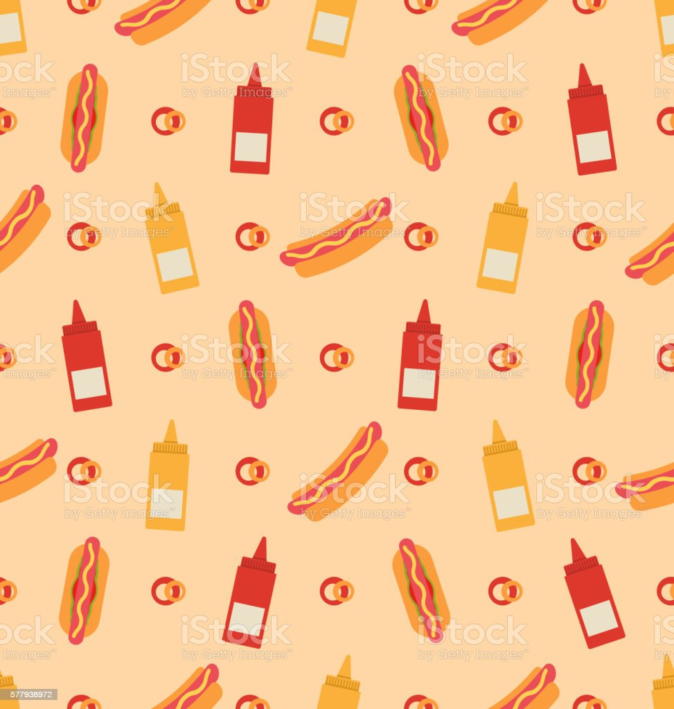 Seamless Pattern with Hot Dogs, Bottles of Mustard and Ketchups vector art illustration