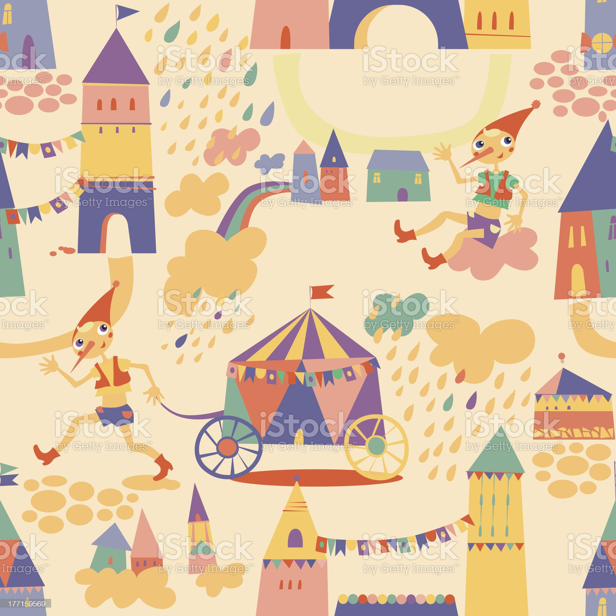 Seamless pattern with houses for children's background. royalty-free stock vector art