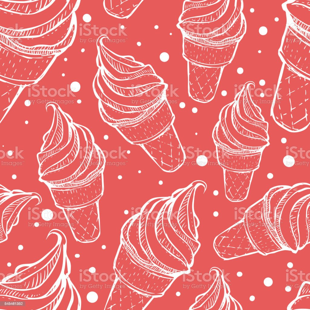 Seamless pattern with ice cream and dots vector art illustration