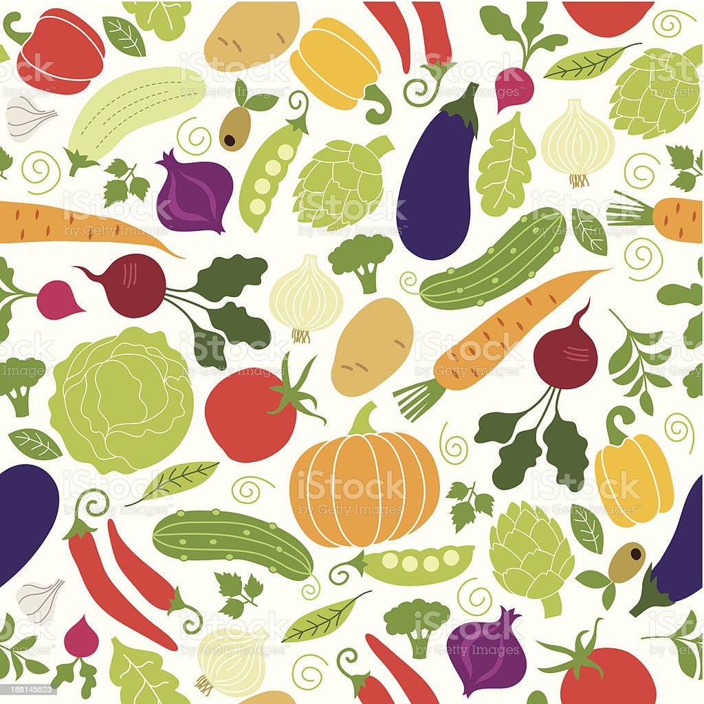 seamless pattern with illustrations of vegetables royalty-free stock vector art