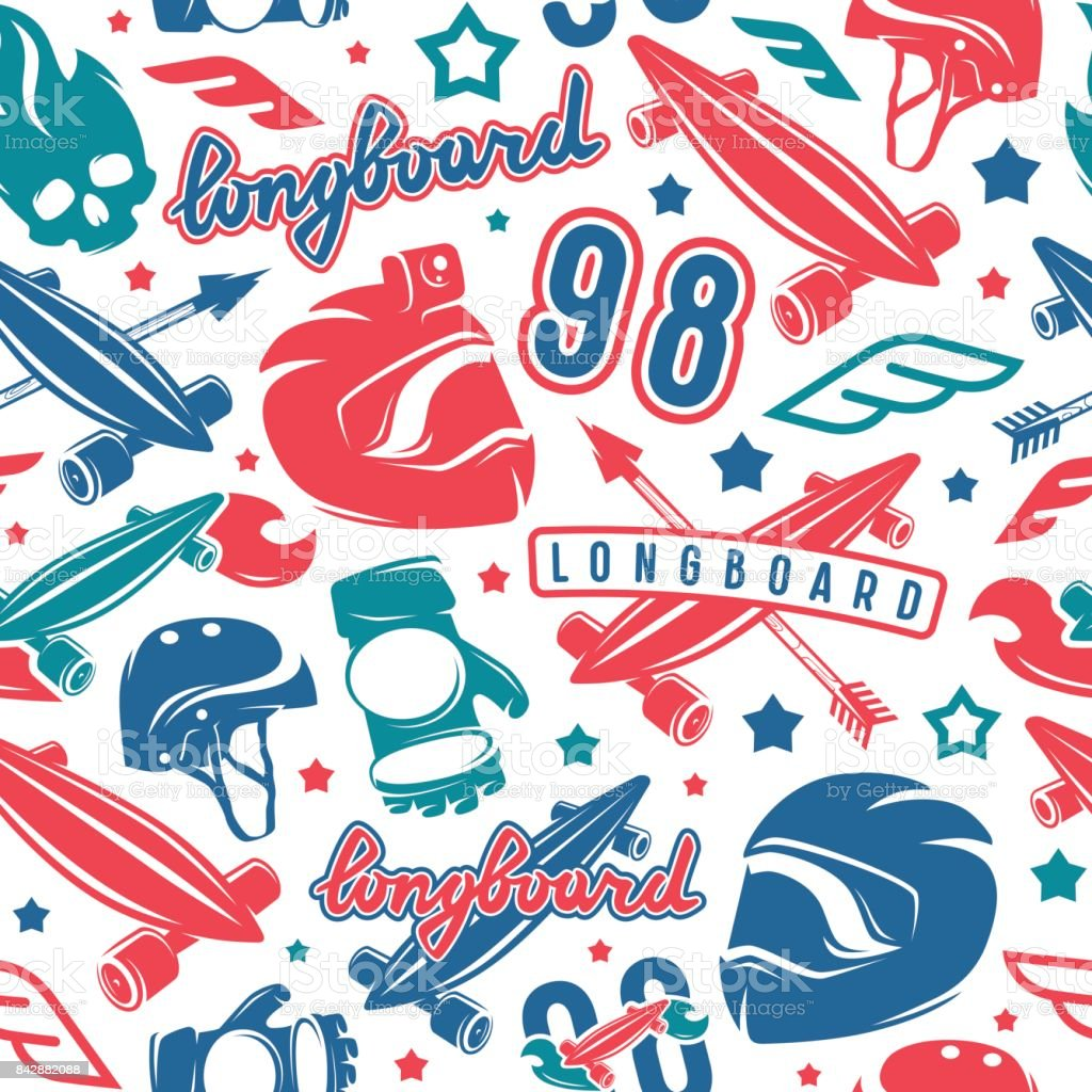 Seamless pattern with image of longboarding equipment vector art illustration